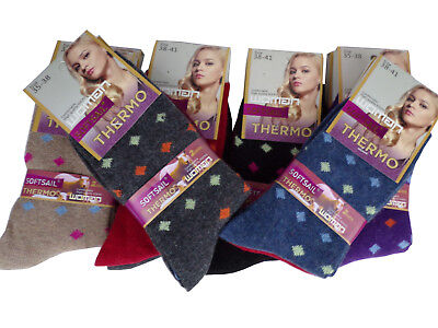 2 Paar Damen Socken Angora 60% Kuschelig Warm Strümpfe Winter Thermo Fashion - Angora Socken