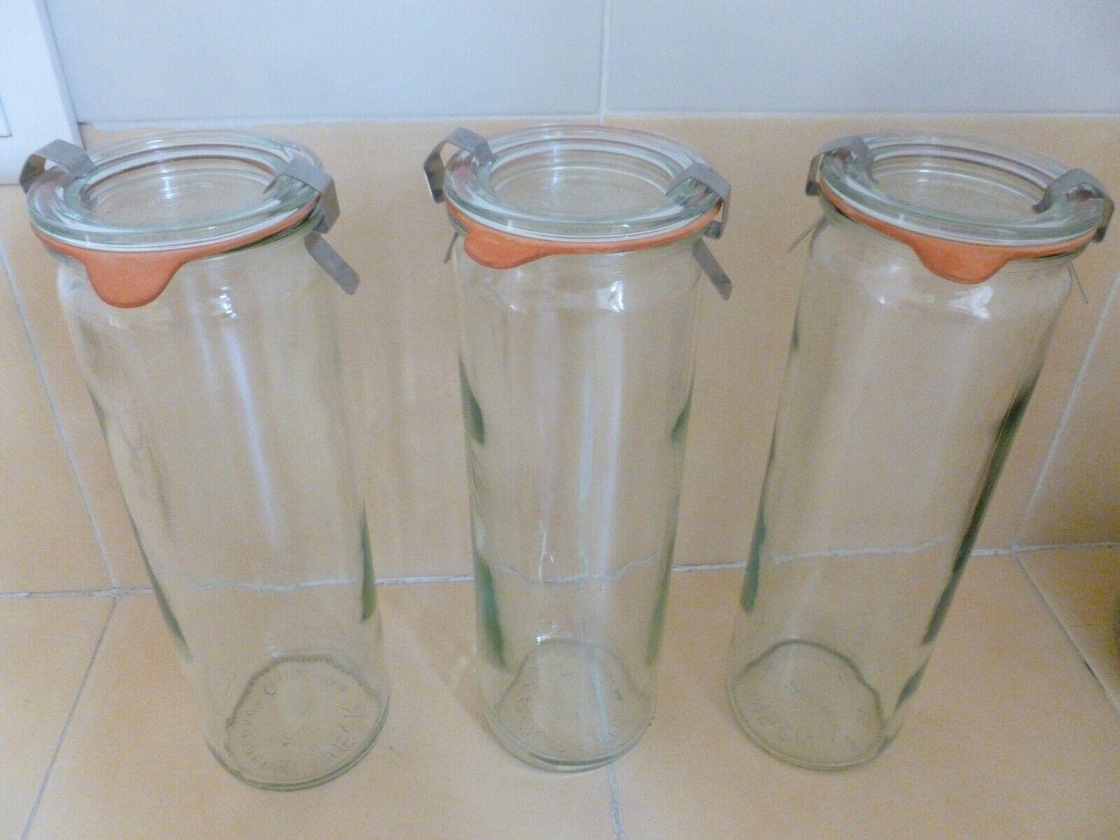 Lot de trois bocaux verre marque weck forme haute cylindrique tbe