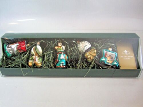 Set of 5 Golf Themed Hand Blown Glass Ornaments ~ New In Box ~ Made in Poland