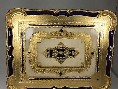 29 cm A Large Vintage Italian Florentine Hand Made Deep Red and Gold Plate 11 12