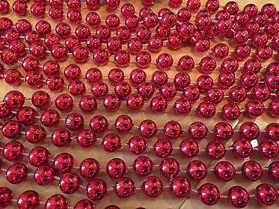 Red Metallic Plastic Bead Garland 31 ft Strand Christmas Tree Wreath Decor