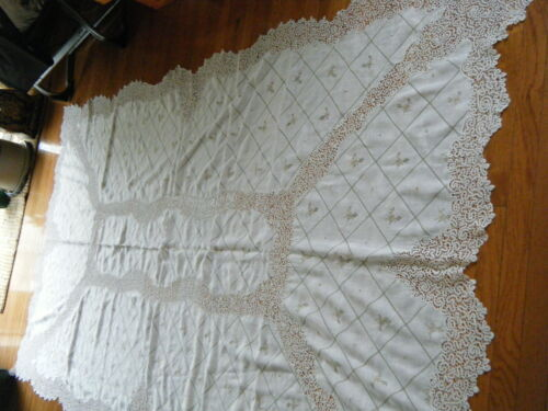 Vtg Tablecloth banquet Lace combo linen Idrian wide bobbin lace & embr/ry h done