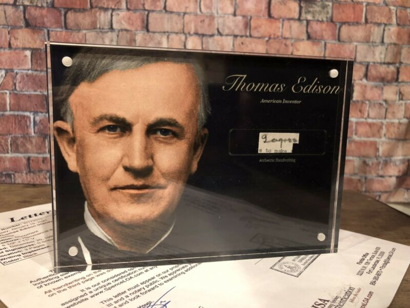 THOMAS EDISON SIGNED HANDWRITTEN JSA LOA HISTORIC DISPLAY