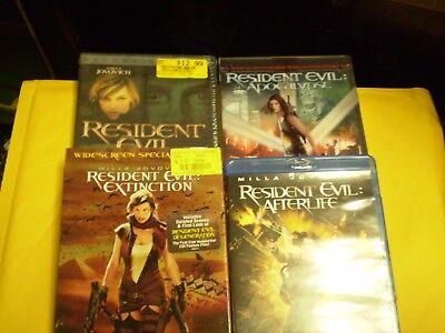 (4) Resident Evil Blu-Ray/DVD Lot: Resident Evil 1-4  Zombie  Halloween  Horror