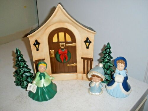 Vintage Holland Mold Caroler Christmas Set with Trees & Door