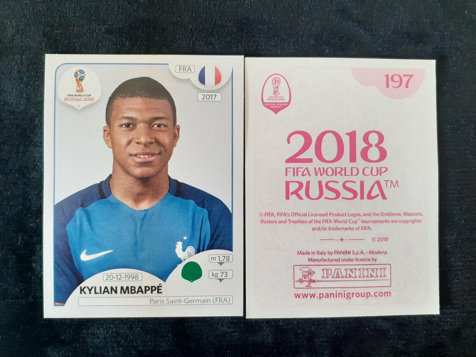 Kylian mbappe rookie superstar mvp 197 sticker paris psg panini world cup 2018