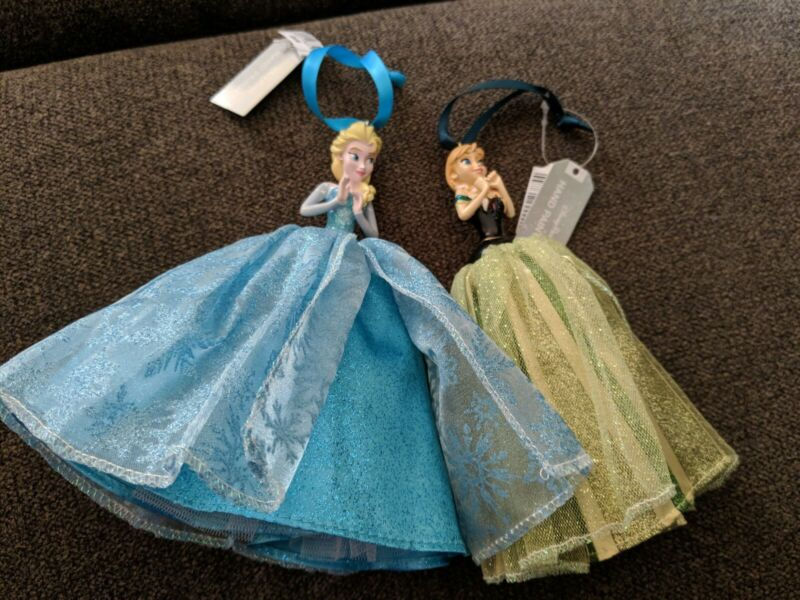 Disney Parks Princess Frozen Elsa & Anna Sketchbook Christmas Ornament Lot