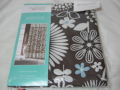 New Traditions by Waverly Gemma Espresso  Fabric Shower Curtain Floral 70x72 ()