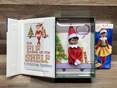 Elf On The Shelf Girl Doll Brown Dark Skin & Brown Eyes Plus Bonus Outfit!