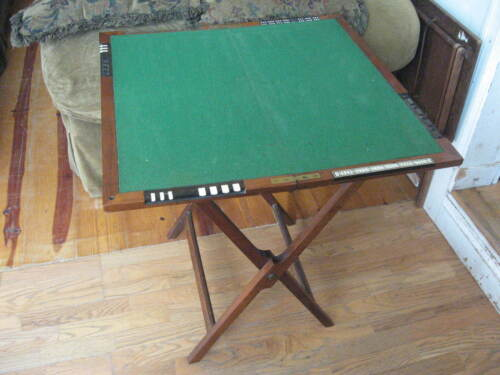 THORNHILL Victorian MAHOGANY Inlaid OFFICERS Folding CRIBBAGE CARD GAMES TABLE