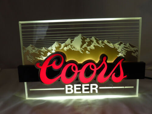 COORS BEER Vintage 1987 Acrylic Lighted Sign Works Great Bar Man Cave Tavern