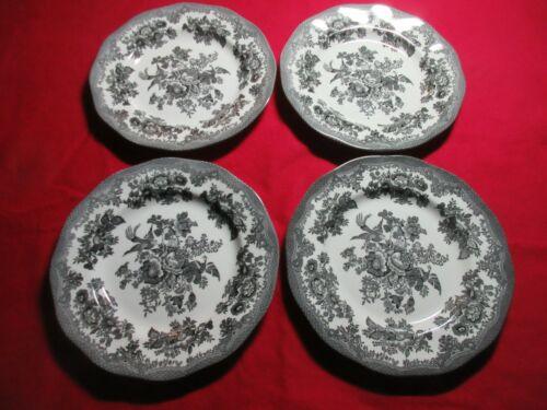 "Set/4 Johnson Brothers ASIATIC PHEASANT Salad/Dessert Plates Black 8"" diameter"