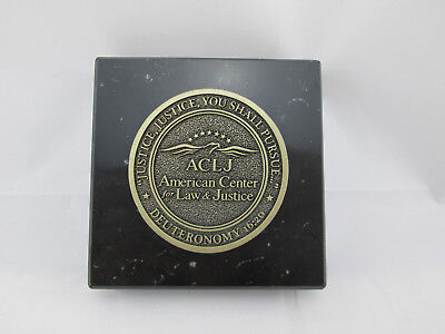 AMERICAN CENTER LAW & JUSTICE Deuteronomy 16:20 ACLJ Marble / Brass - Law Paperweight