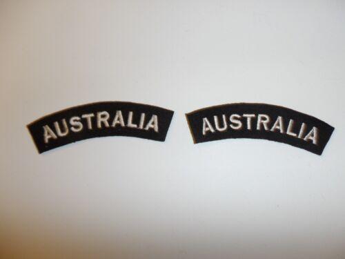 e1665 WW2 Australia Army Shoulder tabs pair black/white R21B2