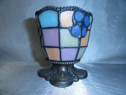 """NICE STAINED GLASS CANDLE HOLDER - GLASS INSERT FOR CANDLE  3 3/4"""""""