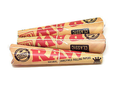 3 RAW Classic Rolling Papers Pre-Rolled Cones- 3 Pack EA KING SIZE Tip Included