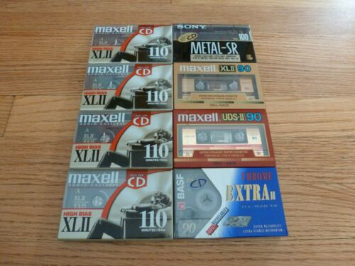 Lot of 8 New Sealed Sony Metal SR 100 Type IV , Maxell XL II, BASF Cassettes