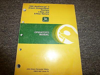 John Deere 7200 4 6 Row Narrow Drawn Planter Owner Operator Manual Oma51897