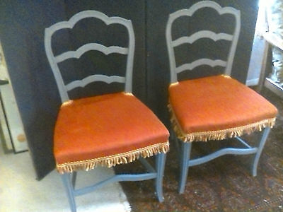 Fab Pair of Vintage Shabby Chic Grey Painted Ladderback Dining Chairs £99!