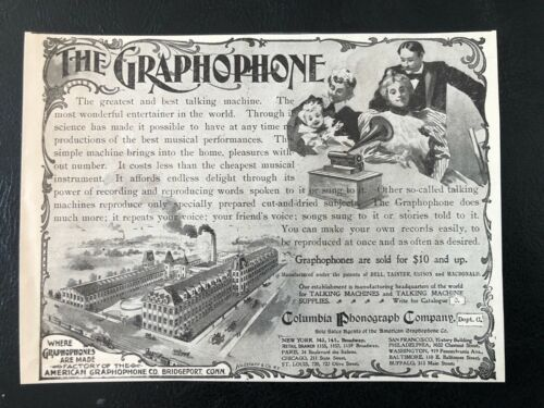 1900s GRAPHOPHONE Columbia Phonograph Vtg Victorian Family&Factory Art Print Ad!