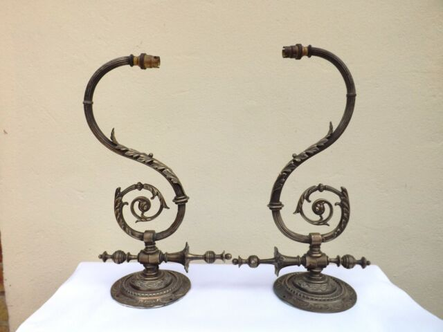 A PAIR VINTAGE ORMOLU WALL GAS SCONCE CONVERTED AND WORKING