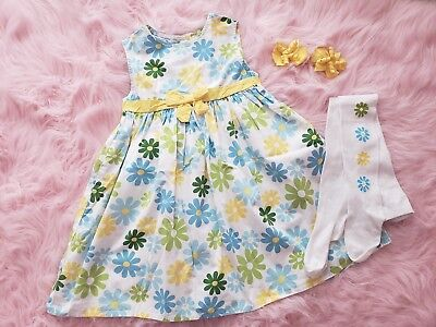 Crazy8 by gymboree daisy dress tights hair clips outfit easter size 5 5t for sale  Shipping to India