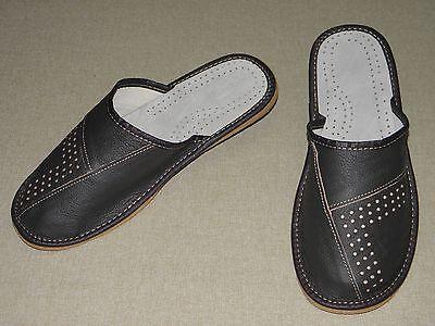 Herren Hausschuhe Pantoffeln Echt Leder Gr. 43