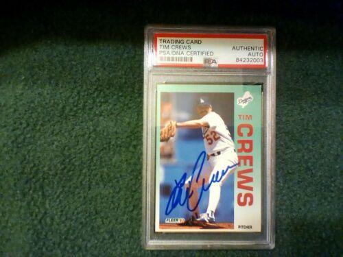 Tim Crews PSA Authenticated Hand Signed 1992 Fleer Card Dodgers