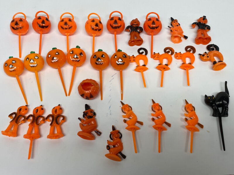 29 Vintage Halloween Plastic Cupcake Picks Toppers Cake Decorations Pumpkin Cat