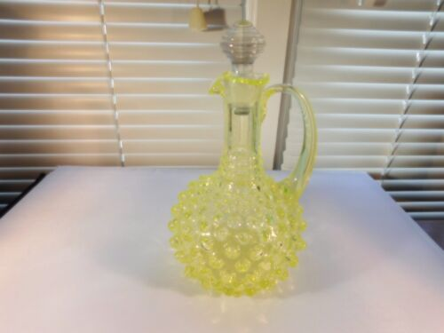Vaseline Yellow Hobnail Cruet Jar Oil
