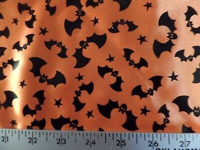 HALLOWEEN BLACK FOIL BATS ON ORANGE 100% POLYESTER SATIN FABRIC BY THE 1/2 - Halloween Fleece Fabric By The Yard