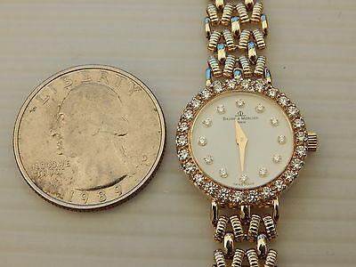 BAUME MERCIER FULL SOLID 14K GOLD DIAMOND LADIES DRESS GOLD BAND BRACELET WATCH
