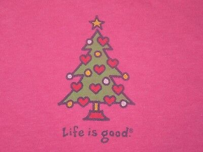 LIFE IS GOOD Pink CHRISTMAS TREE/Hearts L/S Top T-SHIRT Women XS or TEEN GIRL