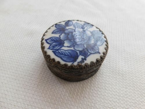 Small Antique Chinese Tin Box Hand Painted Floral Porcelain Piece w/ Mirror