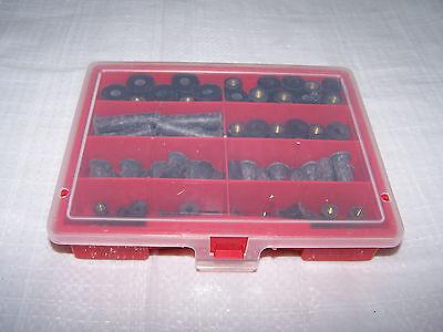 80tlg Sortiment Gummimuttern M4 bis M6 mit Messinggewinde wiederverwendbar