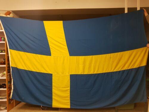 Huge Swedish Maritime Flag. Vintage Original Flag from Ship. Sweden, Sverige.