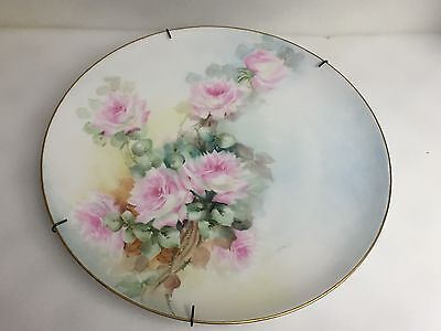 Antique Pink Roses Haviland Limoges Porcelain Hand Painted Wall Hanging Plate