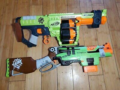 Nerf Zombie Strike Doominator Blaster & Slingfire Soft Dart Rifle Free Ship 2K