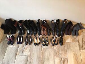 17 PAIRS OF SIZE 6 WOMENS BOOTS & HEELS