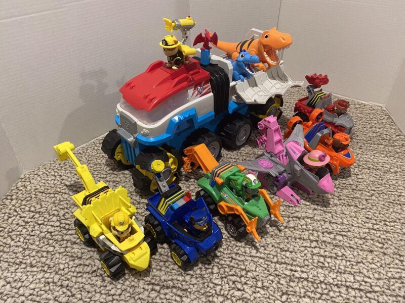 Paw Patrol Dino Rescue Motorized Team Vehicle 6 Vehicles/Pups MEGA Lot READ