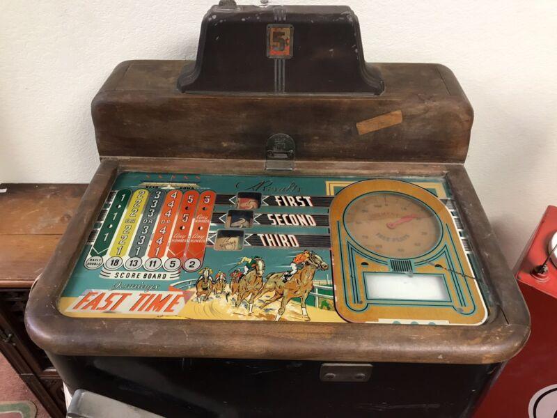 Vintage Jennings Fast Time Horse Racing Nickle Arcade Game