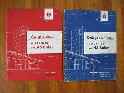 International Mccormick 45 Baler Operators Manual Setting Up Instructions