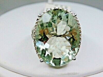 NWT sz 7 COLLEEN LOPEZ 17ct OVAL PRASIOLITE & TOPAZ Sterling Silver Ring NWT HSN