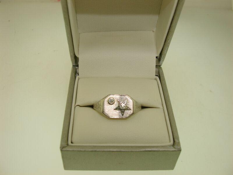 ANTIQUE ART NOUVEAU 14K WHITE GOLD & DIAMOND ORDER OF EASTERN STAR RING! SZ8