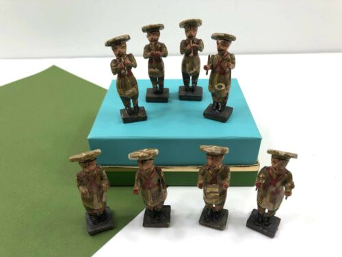 Vintage Hand Painted Wooden Band Musicians Miniatures Carved Wood Men Music