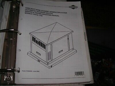 Briggs Stratton Home Standby Generator 10000 W Model 1679-1768 Trouble Book