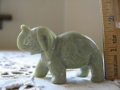 (Vintage Collectible Natural Stone Miniature Elephant Grey Carved Figurine China)