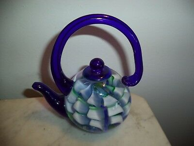 "VINTAGE HEAVY MURANO STYLE 5"" ART GLASS TEAPOT PAPERWEIGHT/FIGURINE *NICE*"