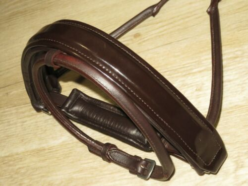 Stunning PATENT BROWN Rolled Leather Softly Padded Dressage Crank Flash Caveson