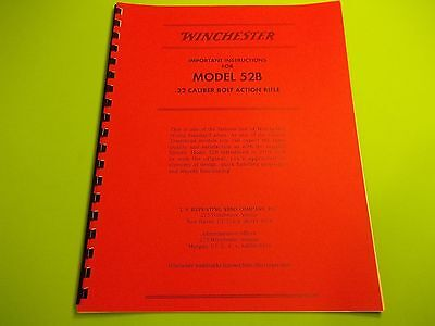 WINCHESTER MODEL 52B .22 CAL  RIFLE OWNERS INSTRUCTION  MANUAL, LARGE EASY READ